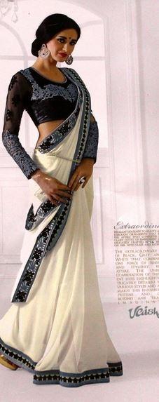 Designer Cocktail White with Blue-Grey Saree Price in Srilanka