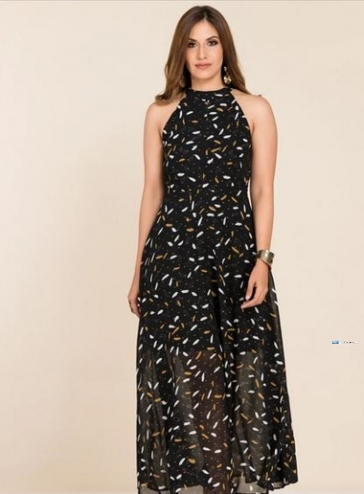 High Neck Printed Party Dress Price in Srilanka