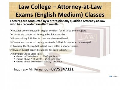 Law College Attorney-at-Law Exams (English Medium) Classes