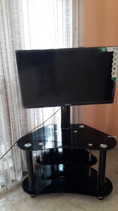 Sofa with Glass TV Stand