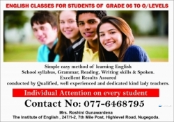 ENGLISH CLASSES FOR GRADE 06 TO O/LEVELS
