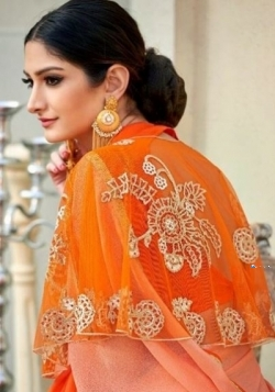 Designer Orange Saree with 2 Jacket Styles Price in Srilanka